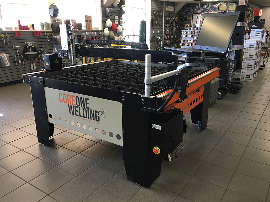CNC Plasma cutting table on display in store
